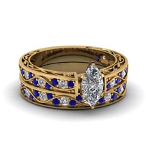 Marquise Shaped CZ Antique Wedding Ring Set W/ Blue Sapphire 14K Yellow Gold Fn - $97.99