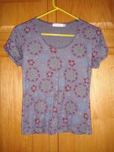 Fresh Produce Top M Navy Soft Sheen Sweetheart Floral - $12.99