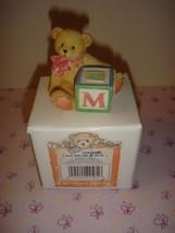 "Cherished Teddies Bear With ABC ""M"" Block - $15.49"