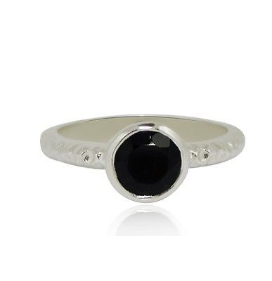 Black Spinel Gemstone Hammered 925 Sterling Silver Jewelry Ring Sz 6.5 SHRI0309