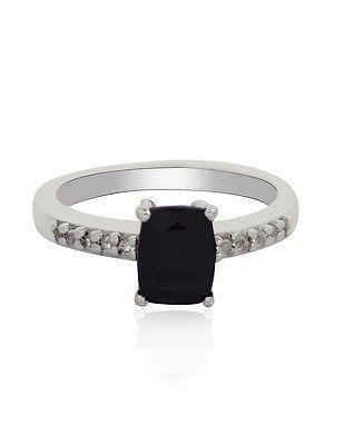 Party Wear Black Spinel Gemstone 92.5 Sterling Silver Jewelry Ring Sz 7 SHRI0310