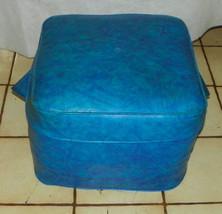 Blue Vinyl Mid Century Footstool / Ottoman  (CS) - $139.00