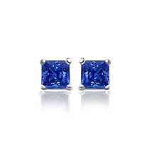 2.0 Ct Princess Cut Blue Sapphire Stud Earrings in White Gold Fn Sterlin... - $53.96