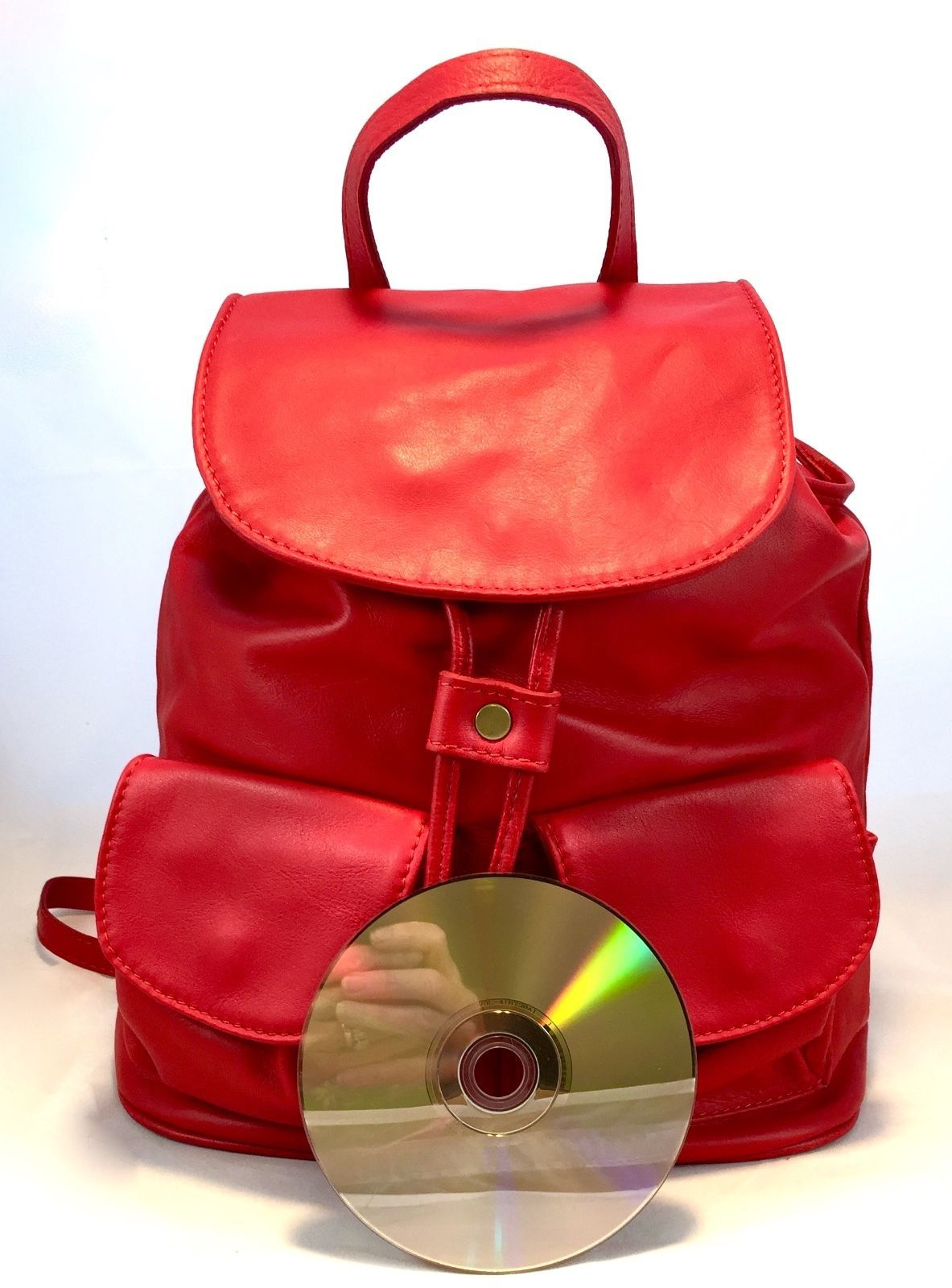 New Made in Italy Red Leather Backpack Shoulder Bag Handbag Purse