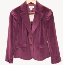 NWOT TALBOTS Silk Cotton Blend Purple Lined 2 Button Blazer Jacket Size 4 - $36.58