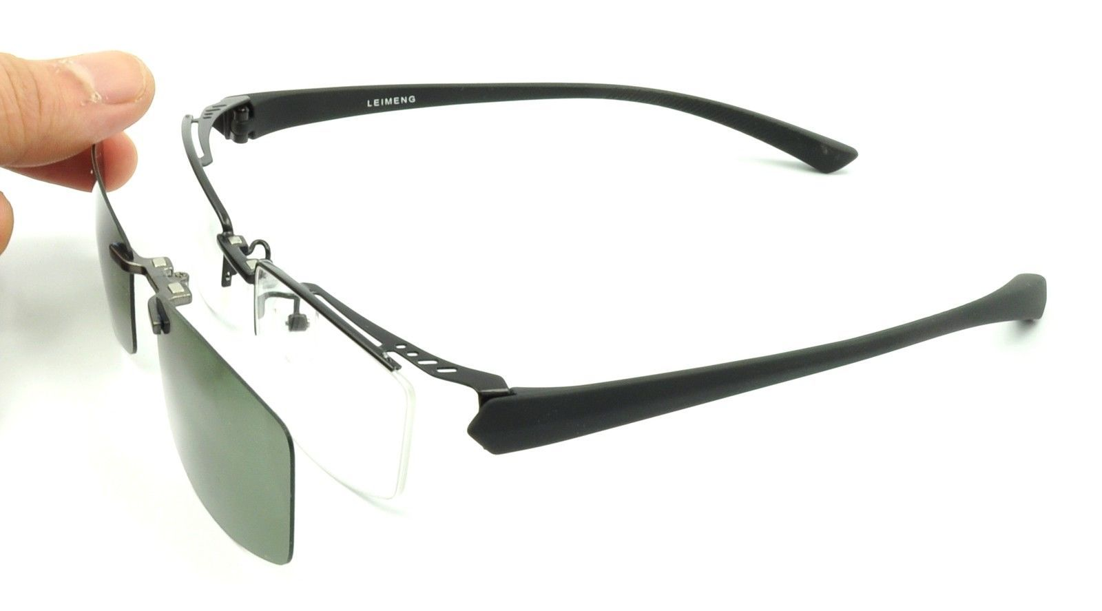 Eyeglass Frame With Magnetic Clip On Sunglasses : 2 Pcs Magnetic Clip-On Sunglasses Mens Half Rimless ...