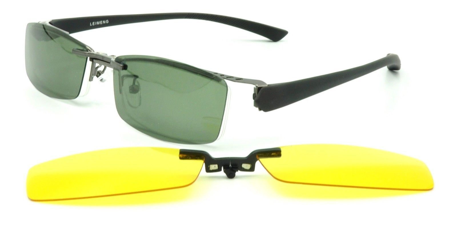 Rimless Eyeglasses With Magnetic Sunglasses : 2 Pcs Magnetic Clip-On Sunglasses Mens Half Rimless ...