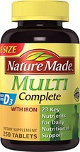 Nature Made Multi Complete Tablets w. Iron Value Size Pack of 3 - $65.01