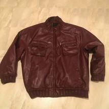 Vtg Robert Philipe Moto Leather Jacket maroon 6xl - $100.98