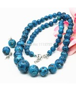6-14mm Natural Ornaments Blue Epidote Beads Lucky Stones Necklace Chain ... - $25.48