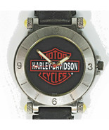 Harley Davidson Vintage Bulova Unworn Gun Metal Black Dress Ulta-Thin Wa... - $137.46