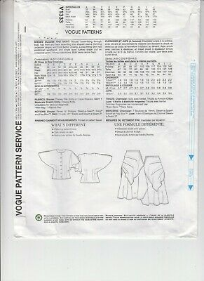 Vogue 1333 Misses Blouse Skirt Loose Fitting Sewing Pattern Uncut Bust 32-55