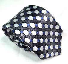 Dockers Silk Necktie Short Skinny Gray White Circles 2.75 x 52.75 inches - $4.90