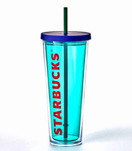 Starbucks Aqua Cold Cup/24 fl oz/Purple Lid/Green Straw - $26.95