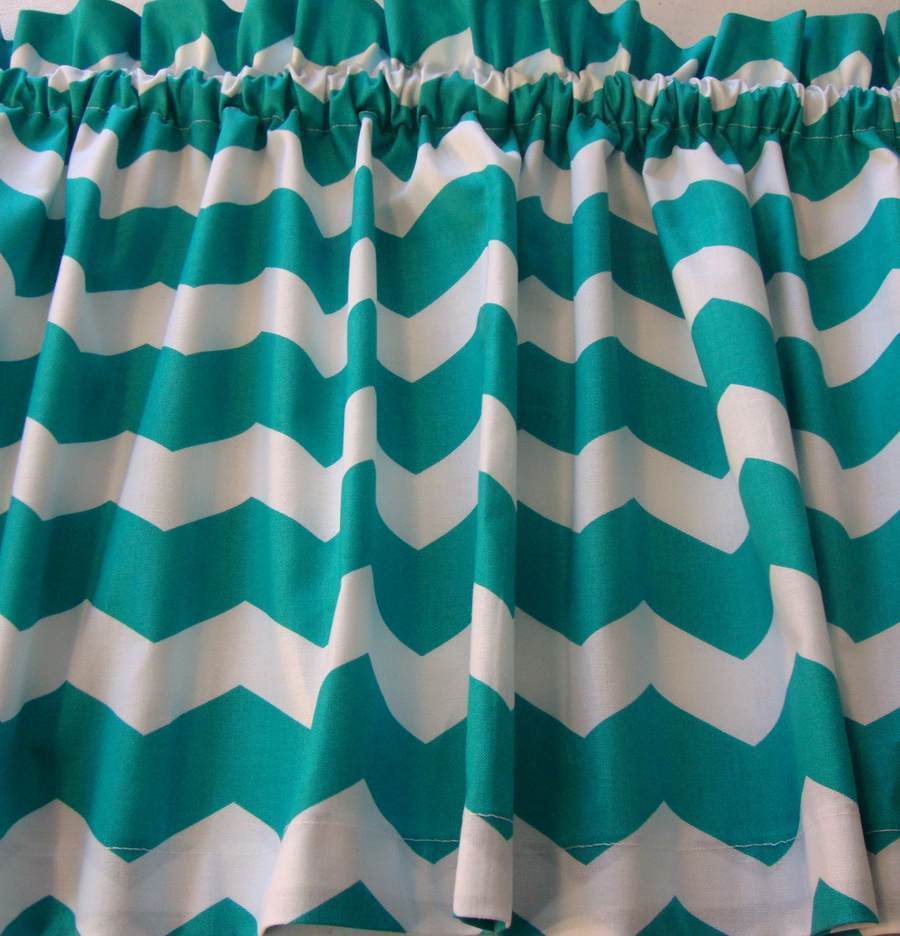Chevron turquoise and white valance curtain popular design - White and turquoise curtains ...