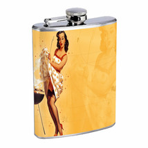 Flask 8oz Stainless Steel Pin Up Girl Design-060 Drinking Whiskey - $12.82