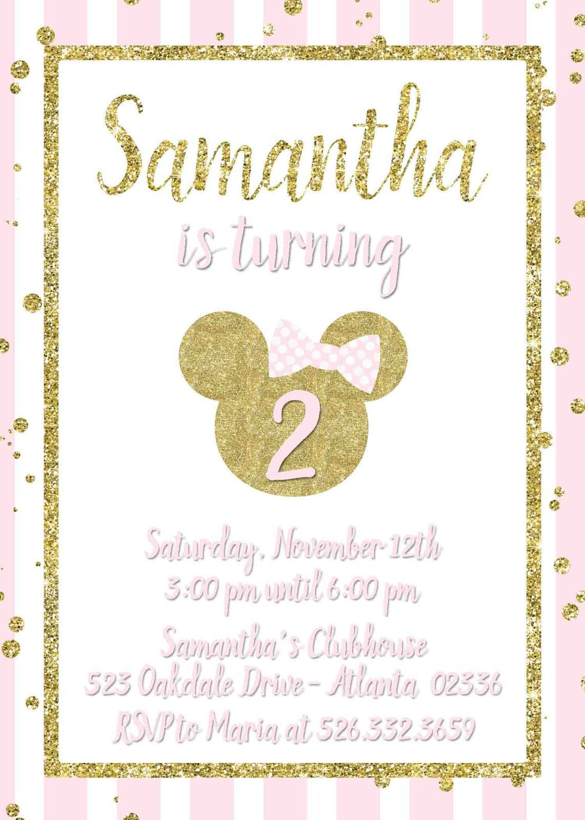 Minnie mouse birthday baby shower invitation and 50 similar items gold glitter minnie mouse invitation filmwisefo