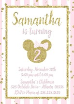Minnie Mouse Birthday Baby Shower invitation Gold Glitter Pink Personalized - $0.99