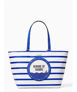 NWT Kate Spade Make a Splash Jules Stripes Beware of Sharks Tote - £207.53 GBP