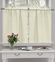 Waverly Strands in Birch Kitchen Curtain Tier Set Cotton Ivory Beige 52x36 - $19.30