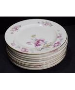 "Set of 8 EPIAG Czechoslovakia 8788 KC Pink / Yellow Floral 10.25"" Dinner... - $77.72"