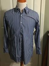 ROBERT TALBOTT Dress Shirt Blue Striped Cotton Alternate Cuff Size Large - €18,81 EUR