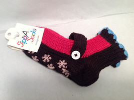 "Mad Style ""Slippa-Sok"" Cozy Knit Socks Brown Pink Blue Slip Resistant Appliques"