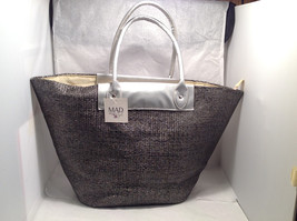Mad About Style Large Shopper Tote Bag Charcoal Gray Basket Weave Silver Accents