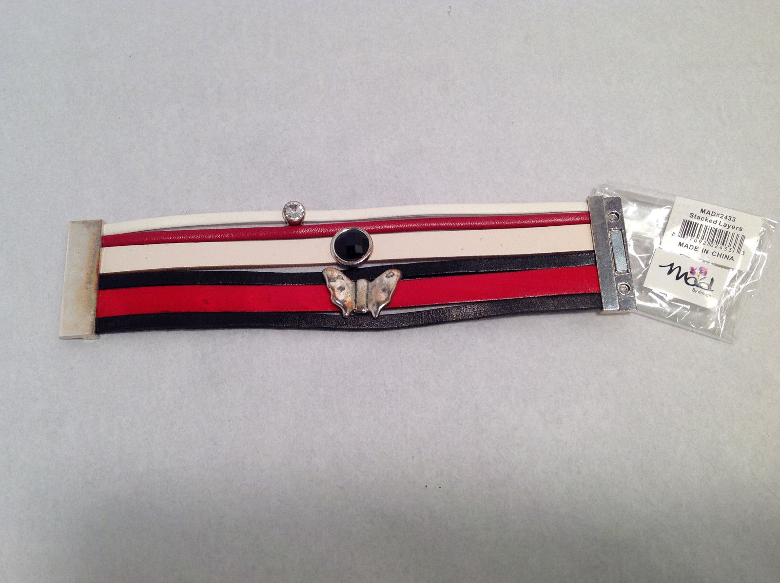 Mad By Design Womens Faux Red White Leather Banded Bracelet Silver Tone Hardware