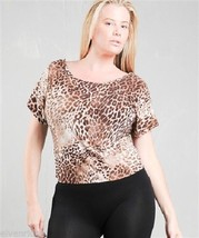 Ladies fun brown animal print Cheetah blouse top in plus sizes Caren Sport label