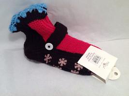 "Mad Style ""Slippa-Sok"" Cozy Knit Socks Brown Pink Blue Slip Resistant Appliques image 2"