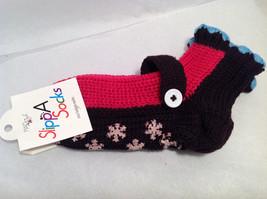 "Mad Style ""Slippa-Sok"" Cozy Knit Socks Brown Pink Blue Slip Resistant Appliques image 6"