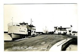 Ferrys At The Dock Washington Island Wisconsin Real Photo Postcard 1950's - $21.78