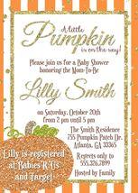 PRINTABLE Orange Little Pumpkin gold pink glitter baby shower invitation... - $9.99