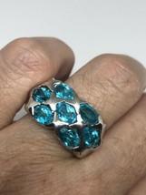 Vintage Blue Topaz Ring 925 Golden Sterling Silver Size 6.75 - $133.65