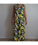 Vintage Rhapsody Hawaiian Floral Glazed Cotton Rayon Ruffled Mumu Dress - $83.99