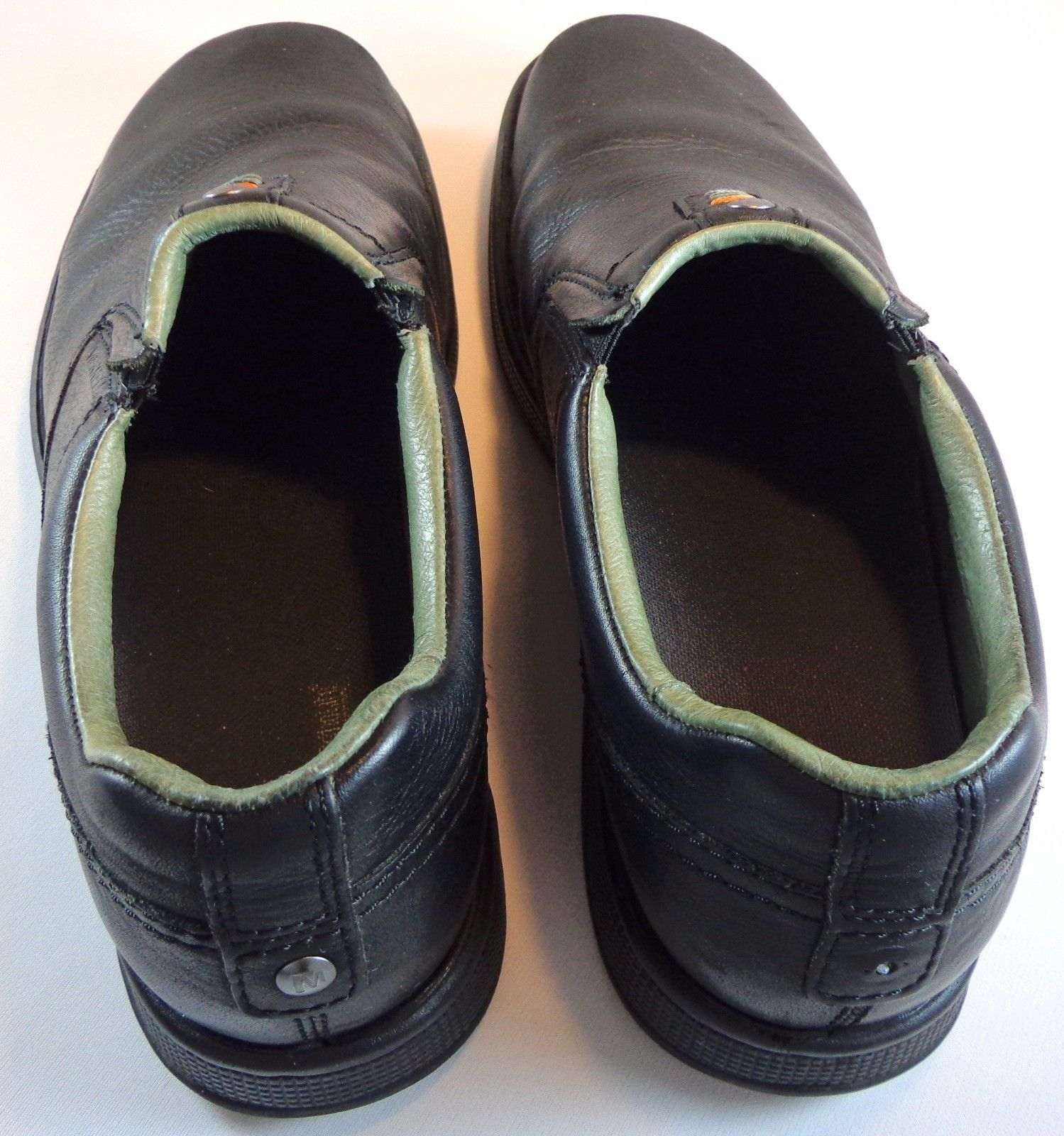 Merrell World Legend Black Leather Casual Slip On Shoes Mens Size 12