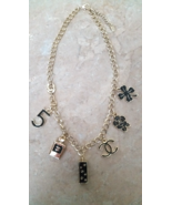 Vintage CC Gold Chain & Black Enamel Charm Necklace Perfume, Clover, Paris - $39.99