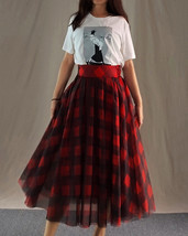 Fall Red Plaid Skirt Outfit Red Plaid Long Tulle Skirt High Waisted Plaid Skirt  image 3