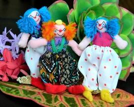 Vintage Lot 3 Miniature Dolls Clowns Peru South American Yarn Cloth - $24.95