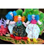 Vintage Lot 3 Miniature Dolls Clowns Peru South... - $28.95