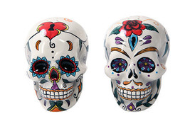 Day of Dead Sugar Red White Skulls Salt & Pepper Shakers Set Dia de Los ... - $14.84