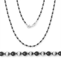 2.5mm 925 Sterling Silver 14k Black Gold Ball Bead Link Chain Necklace Solid - $58.55+