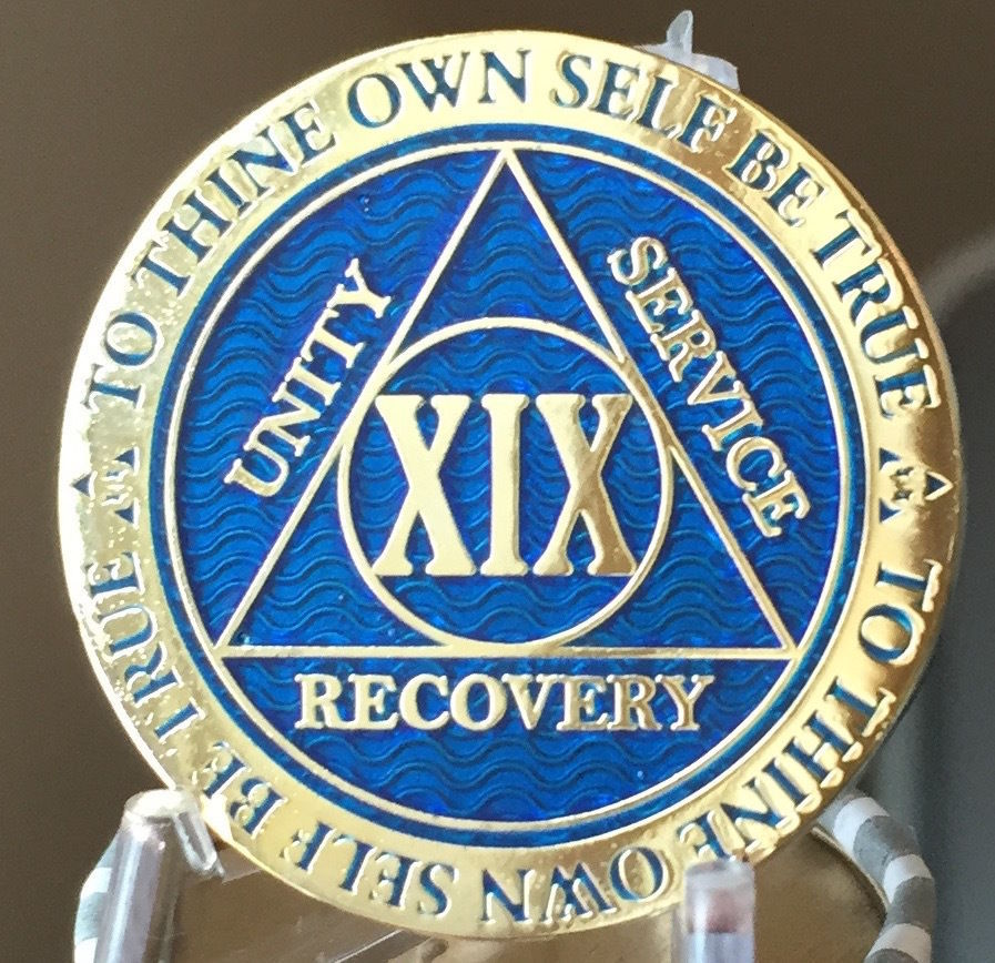 15 Year AA Medallion Blue Gold Plated Alcoholics Anonymous Sobriety Chip Coin
