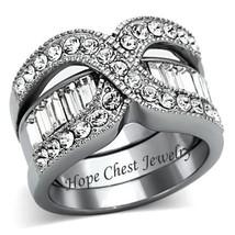 WOMEN'S STAINLESS STEEL CRISS CROSS CZ WEDDING FASHION RING SET SIZE 7, 8 - $24.49
