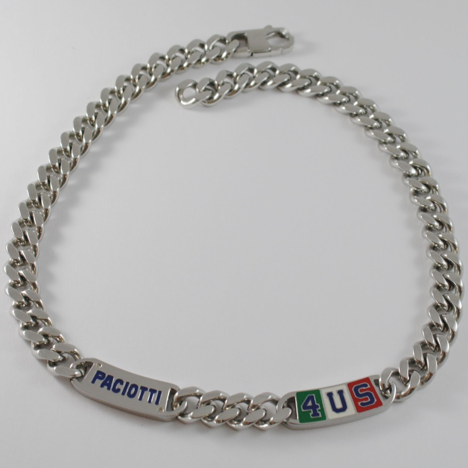 STAINLESS STEEL BIG GOURMETTE 4US PACIOTTI NECKLACE ENAMEL ITALIAN FLAG 4UCL0123