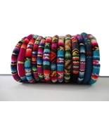 Set 3 Peruvian Bracelet Cuff Bangle Peruvian Manta Fabric Handmade Ethni... - $15.00