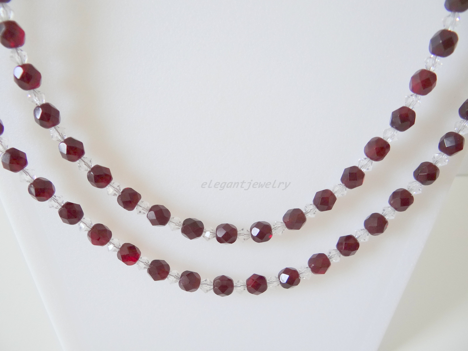 DARK RED & CLEAR SWAROVSKI NECKLACE SET