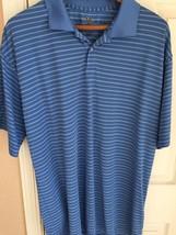 Blue Striped Short Sleeved Mens Nike Golf FitDRY XXL Polo - $19.79