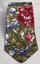 Halston III Men's 100% Silk Floral and Grapes Neck Tie Olive, Burgandy, ... - $10.93